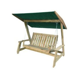 image-Alexander Rose Pine Farmers Swing Seat Replacement Canopy - Green