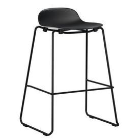 image-Form Bar stool - stackable / Metal legs - H 75 cm by Normann Copenhagen Black