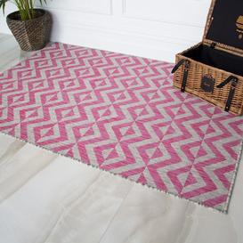 image-Pink Geometric Outdoor Runner Rug - Habitat