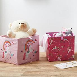 image-Unicorn Pack of 2 Collapsible Storage Boxes Pink