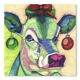 image-'Christmas Cow' by Solveig Studio - Graphic Art Print East Urban Home Format: Paper, Size: 41cm H x 41cm W