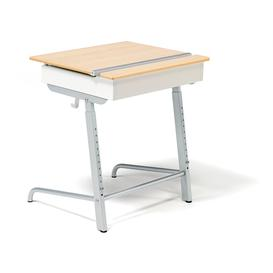 image-Sound absorbent student box top desk ABSO AX, silver, beech
