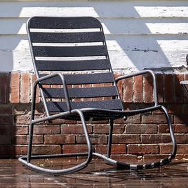 image-Novogratz Furniture Roberta Outdoor/Indoor Charcoal Grey Metal Rocking Chair