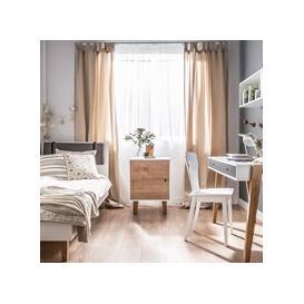 image-Vox Concept Bedside Cabinet in White & Oak Effect
