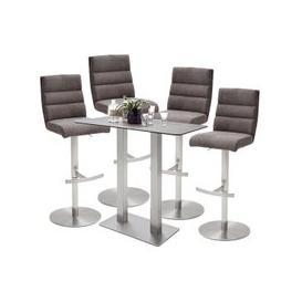 image-Soho Glass Bar Table With 4 Hiulia Brown Fabric Stools