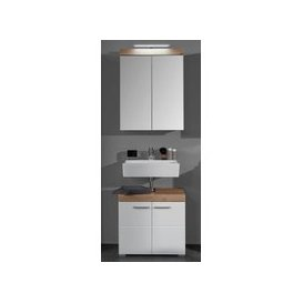 image-Amanda LED Bathroom Mirror And Vanity In White And Knotty Oak