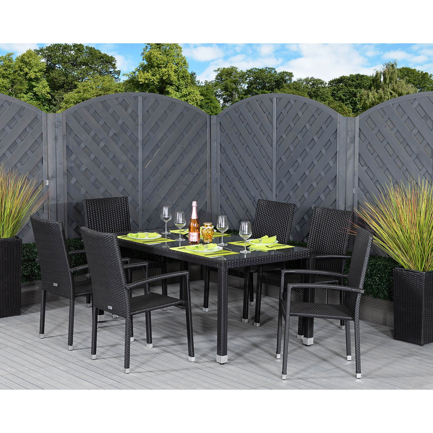 image-Rio 6 Armed Rattan Garden Chairs and Open Leg Rectangular Table Set in Black
