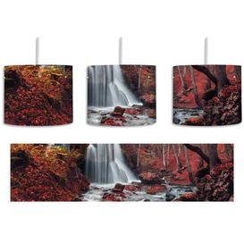 image-Stunning Landscape with Waterfall 1-Light Drum Pendant East Urban Home Shade Colour: Red/White