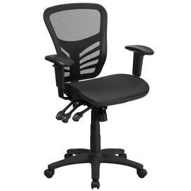 image-Mid-Back Transparent Black Ergonomic Mesh Desk Chair