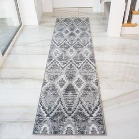 image-Abstract Grey Hall Runner Living Room Rug - Soho