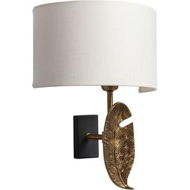 image-Heathfield Leaf Brass Patina Wall Light with Oyster Glaze Linen Shade