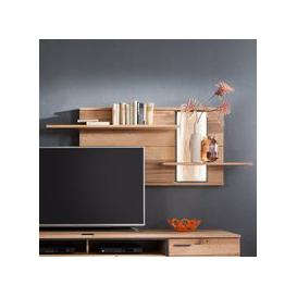 image-Campinas LED Wooden Wall Shelving Unit In Knotty Oak