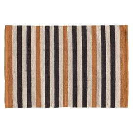 image-Raya Navy Blue And Tan Cotton Stripe Flatweave Rug 65 X 95Cm, Navy And Tan