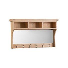image-Monica Oak Hall Shelf Unit With Mirror