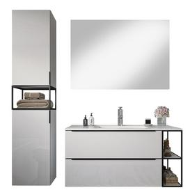 image-Rushton 1000mm Vanity and Mirror Set Belfry Bathroom Furniture Finish: White