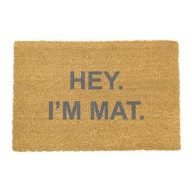 image-Artsy Doormats - Hey I'm Mat Door Mat - Grey