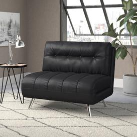 image-Rupesh 1 Seater Futon Chair Ebern Designs Colour: Black Leather