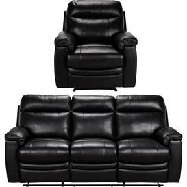 image-Argos Home Paolo Chair & 3 Seater Manual Recline Sofa -Black