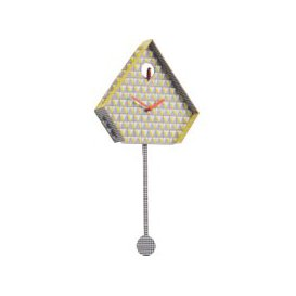 image-Miu Yellow Patterned Cuckoo Wall Clock, Yellow