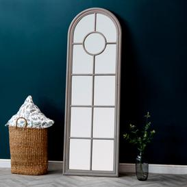 image-Rouen Narrow Grey Arched Window Mirror 60 x 180cm