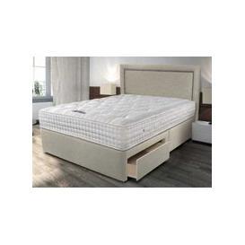 """image-Sleepeezee Backcare Ultimate 2000 Pocket Divan Set - Double (4'6\"""" x 6'3\""""), 2 Drawers, Sleepeezee_Smooth Light Grey"""