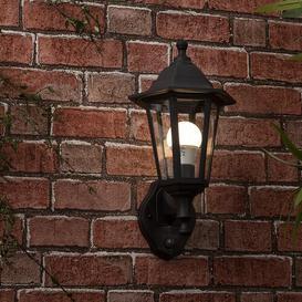 image-Mayfair Outdoor Wall Lantern Marlow Home Co. Fixture Finish: Black, Bulb Colour: Warm White, Size: 35.5cm H x 17cm W x 21cm D