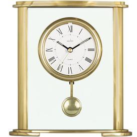 image-Welwyn Gold Metal/Glass Pendulum Table Clock Acctim