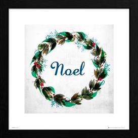 image-Christmas Wreath Noel' Framed Textual Art East Urban Home Size: 40cm H x 40cm W, Format: Black Framed