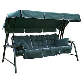 image-Lord Deluxe Metal Framed Swing Seat Freeport Park Finish: Green, Cushion Fabric: Hunter, Canopy Fabric: Green / Green