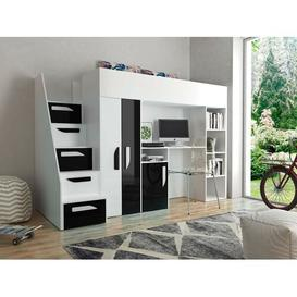 image-Farrar European Single Loft Bed Isabelle & Max Bed frame colour: Black