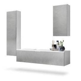 image-Beach Bathroom Furniture Suite Vladon Bathroom furniture colour (front/body): Graphite and white, With/Without LED mirror: Does not feature a mirror