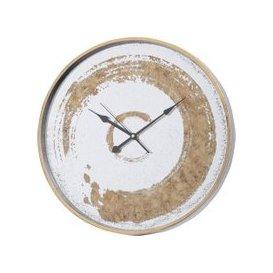 image-Oberon Distressed Gold Swirl Mirrored Wall Clock