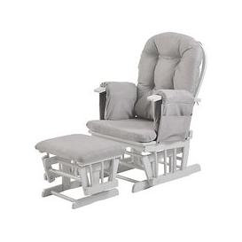 image-Kub Haywood Reclining Glider Nursing Chair and Footstool, Grey