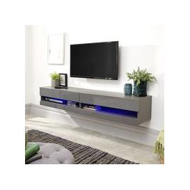 image-Abril Wall Mounted Large TV Wall Unit In Grey Gloss With LED