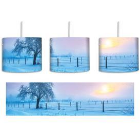 image-Tree on a Winter Landscape 1-Light Drum Pendant East Urban Home Shade Colour: Blue/Purple