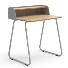 image-Secretary Desk Sedus Frame Colour: White, Top Colour: Light Grey/Oak, Wireless Charger Type: With EU Wireless Charger