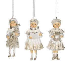 image-6 Piece Victorian Xmas Girl Hanging Figurine Ornament Set (Set of 6) Goodwill