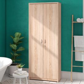 image-Costas 74 x 188cm Free-standing Tall Bathroom Cabinet Rebrilliant Colour: Sonoma oak