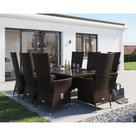 image-8 Seater Rattan Garden Dining Set With Rectangular Dining Table in Brown - Cambridge