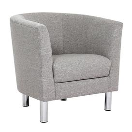 image-Clesto Fabric Upholstered Armchair In Light Grey