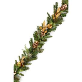 image-Luxury Pre-Lit Gold Pomegranate Christmas Garland