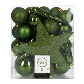 image-A by AMARA Christmas - Set of 33 Assorted Baubles and Tree Topper - Pine Green
