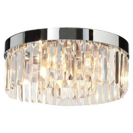 image-Crystal G9 5-light bathroom flush ceiling light in chrome - ip44: zone 2 - LED & Halogen - 84965.