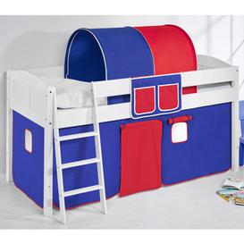 image-Hilla Children Bed In White With Blue Red Curtains