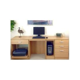 image-Small Office Desk Set With 1+3 Drawers, Printer Shelf & CPU Unit (Classic Oak)