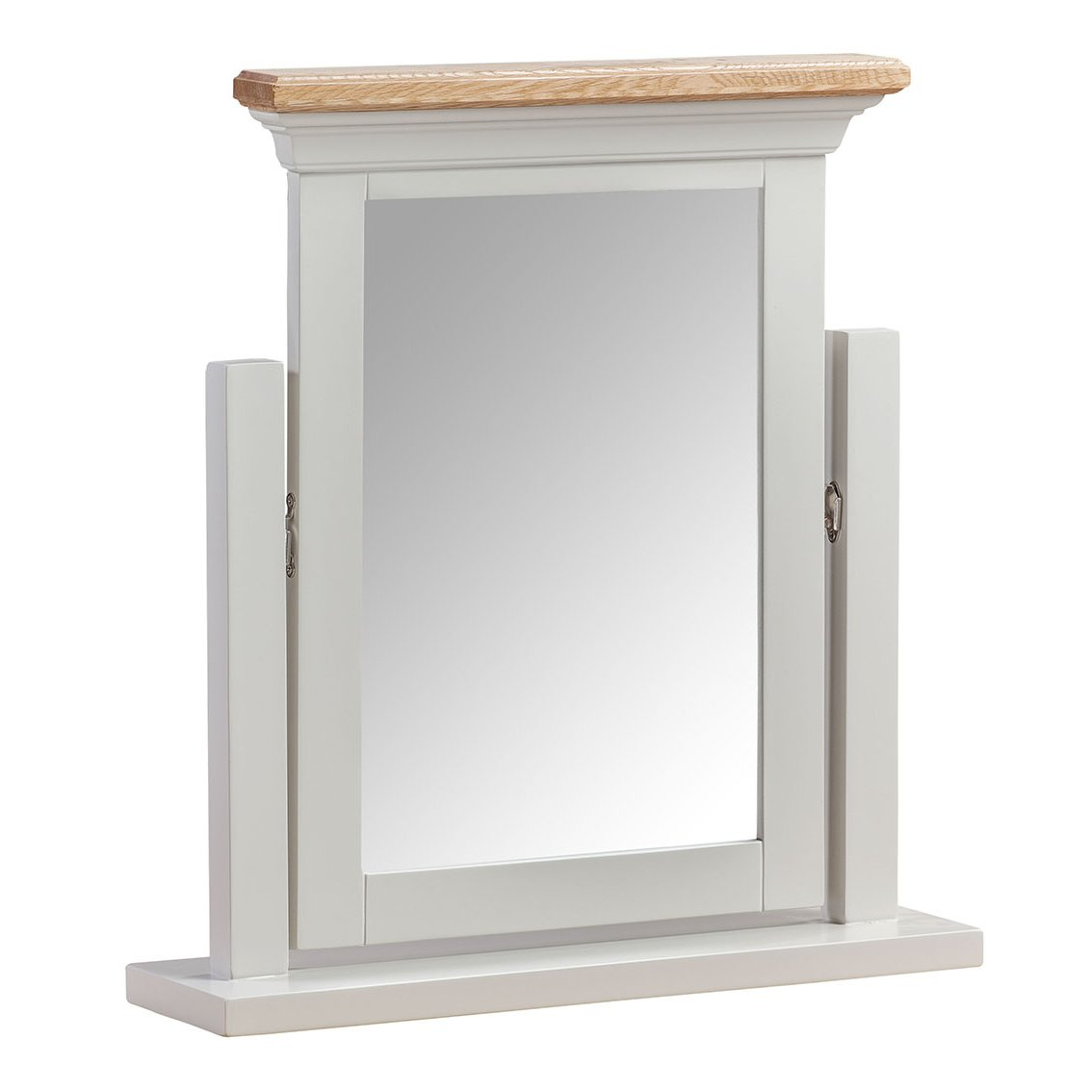 image-Cotswold Solid Oak Cream Painted Furniture Vanity Dressing Table Mirror