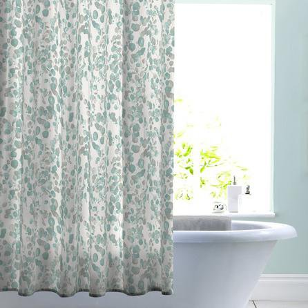 image-Eucalyptus Shadow Shower Curtain Seafoam