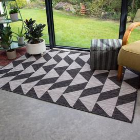image-Grey Geometric Outdoor Indoor Rug - Habitat