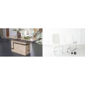 image-Urban Deco Venice 160cm Cream Marble Dining Table and 6 Oslo Cream Chairs