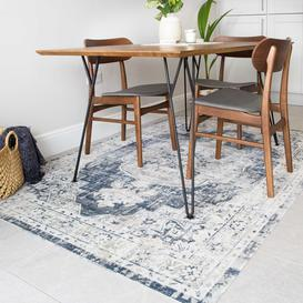 image-Blue Traditional Distressed Flat Low Pile Room Rug - Abella